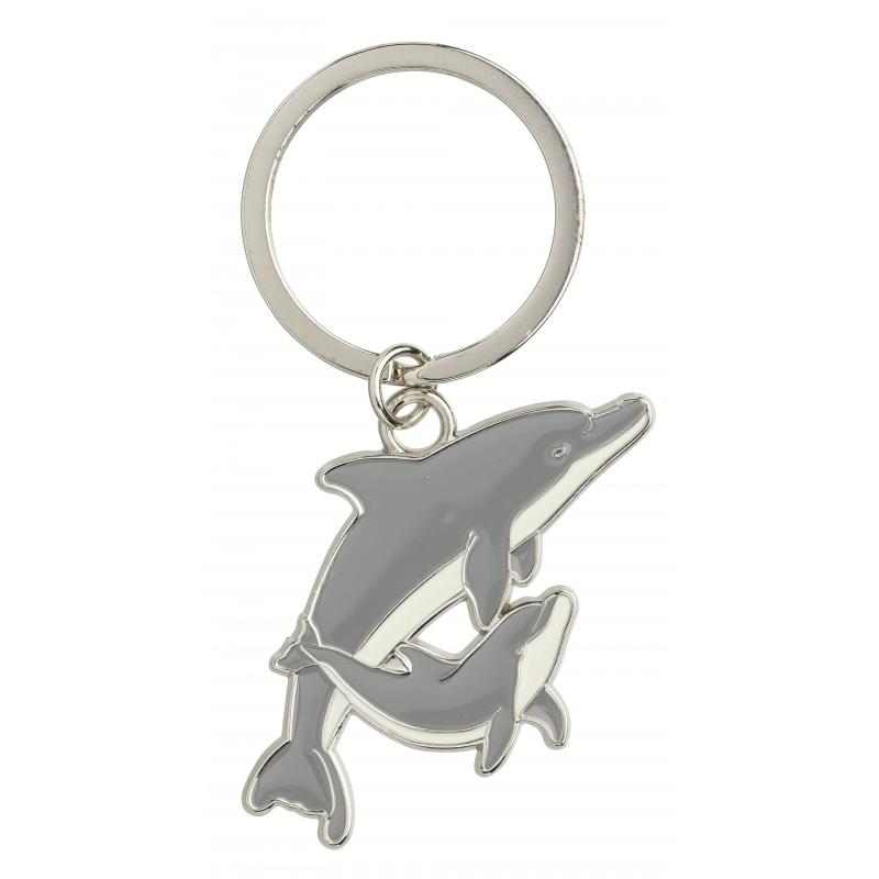 Metalen sleutelhanger dolfijn 5 cm