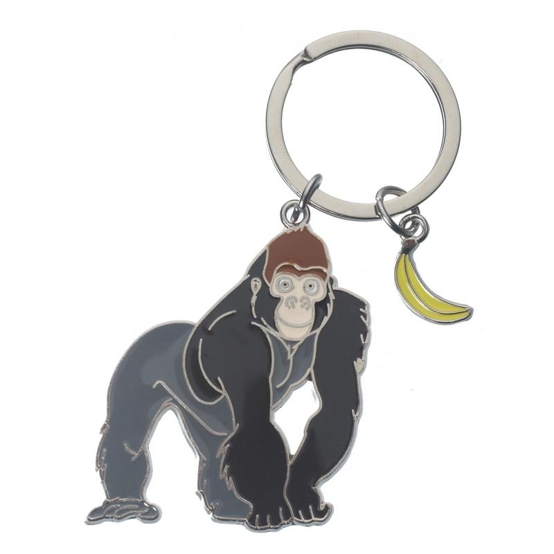 Metalen sleutelhanger gorilla 5 cm