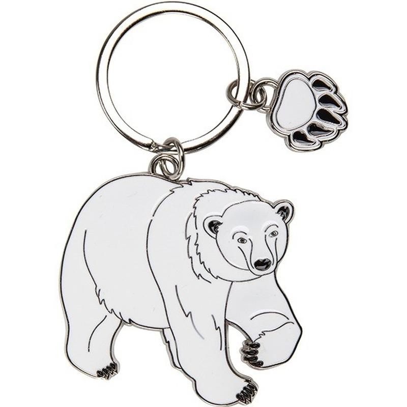 Metalen sleutelhanger ijsbeer 5 cm