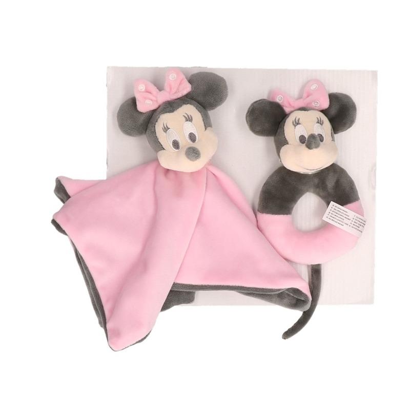 Minnie Mouse knuffeldoekje met rammelaar giftset roze