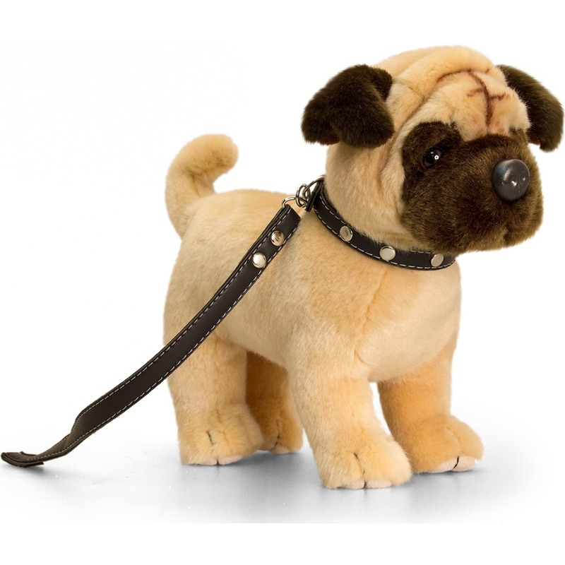 Mopshond honden knuffeldier 30 cm met hondenriem