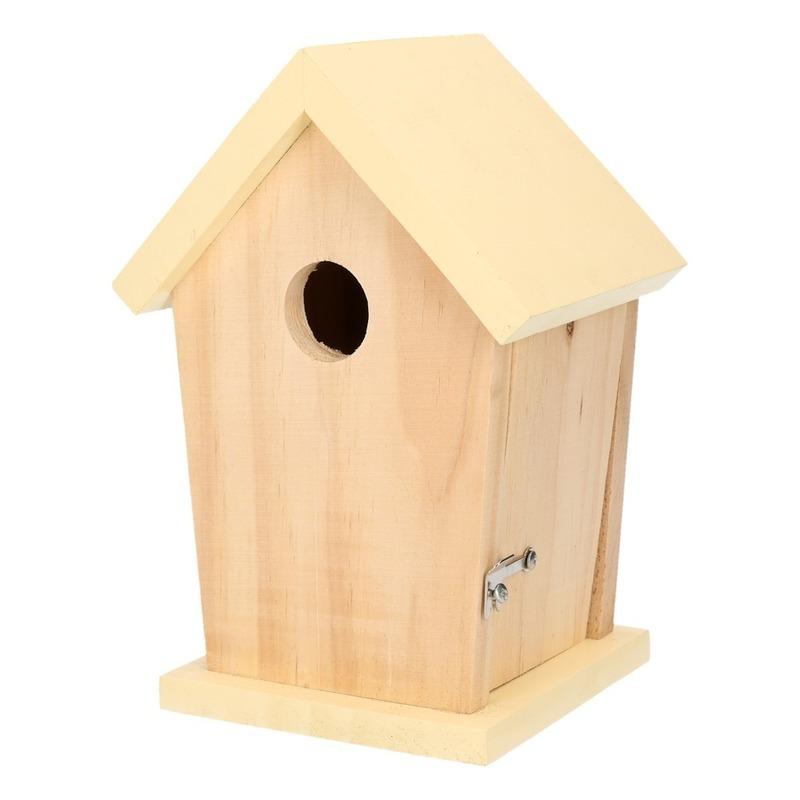 Nestkastje met lichtgeel dakje voor kleine tuinvogels 21 cm