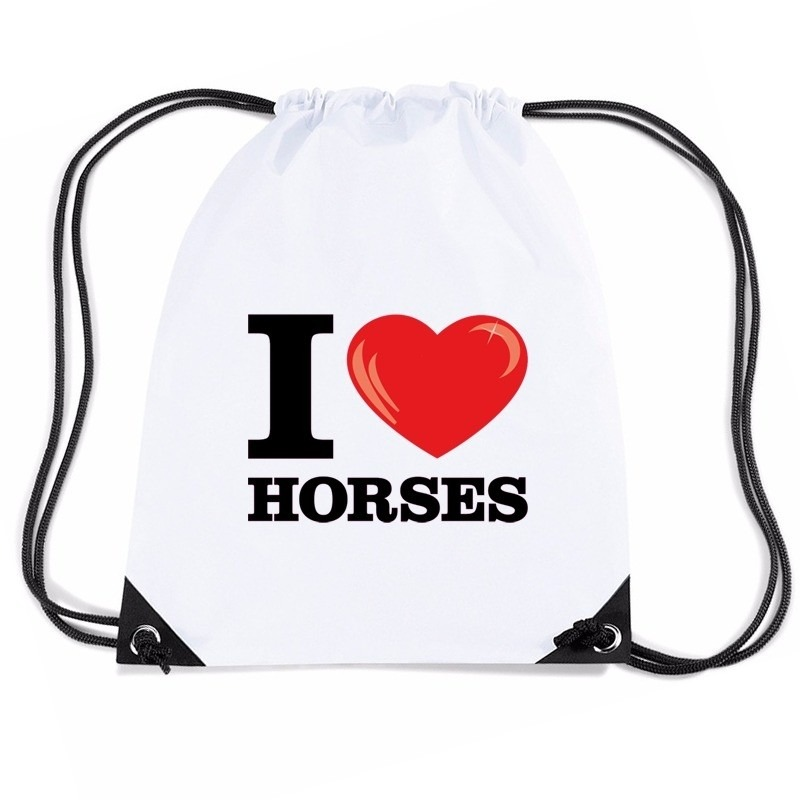 Nylon gymtasje I love horses wit