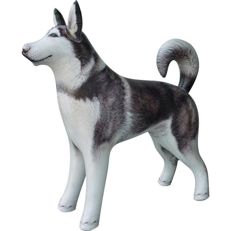 Opblaas Husky hond dieren 75 cm realistische print