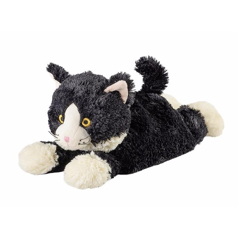 Opwarmbare knuffel liggende kat/poes zwart