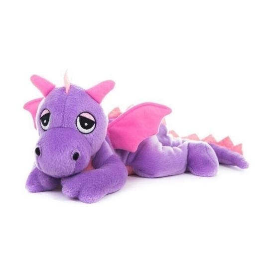 Opwarmbare knuffel paarse draak 18 cm