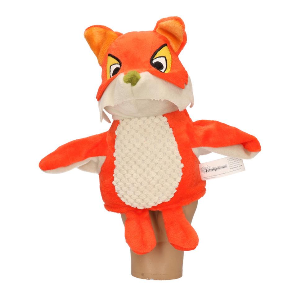 Oranje/bruine vossen handpoppen knuffels 25 cm Fabeltjeskrant Lowieke de Vos knuffeldieren