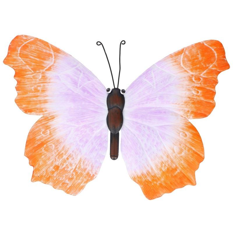 Oranje-lila tuindecoratie vlinder 40 cm