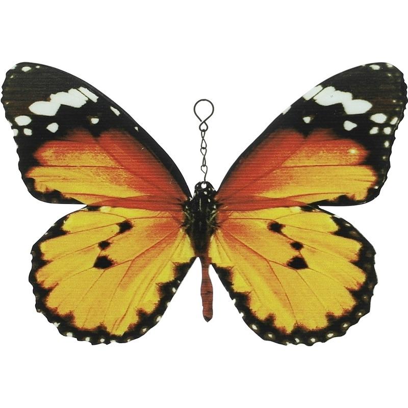 Oranje-zwarte metalen tuindecoratie monarch vlinder 20 cm