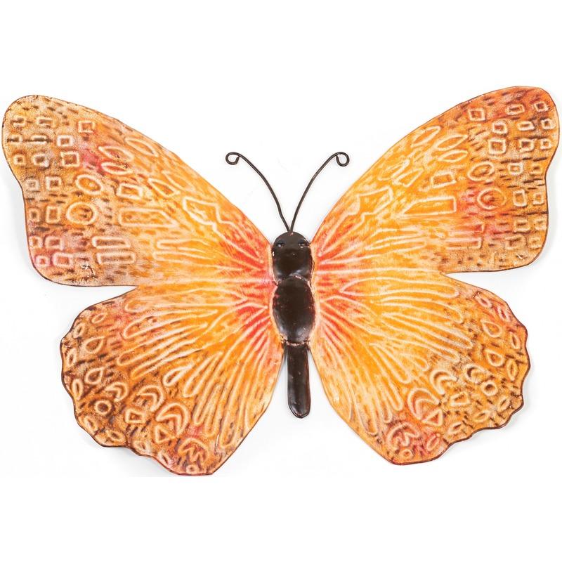 Oranje-zwarte metalen tuindecoratie vlinder 39 cm