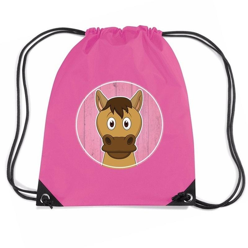 Paard dieren trekkoord rugzak - gymtas roze voor kinderen