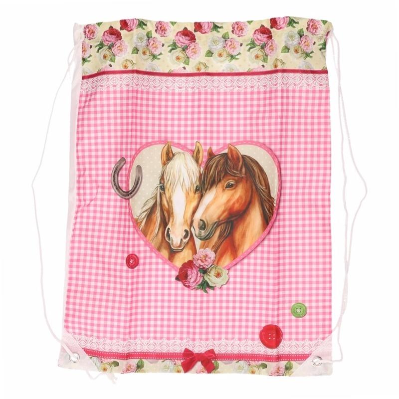 Paarden artikelen roze gymtas type 2