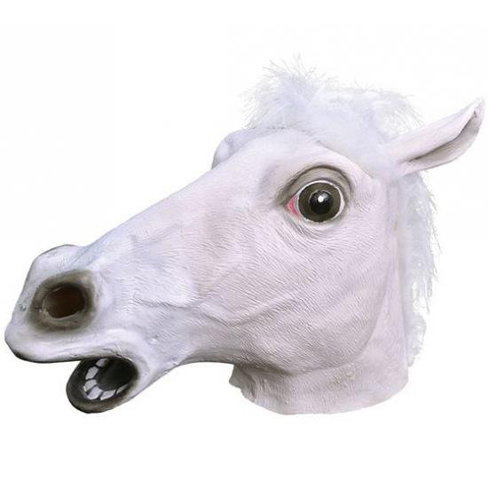 Paarden masker wit van rubber
