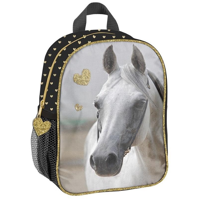 Paarden school rugzak zwart/goud voor meisjes 28 x 22 x 10 cm