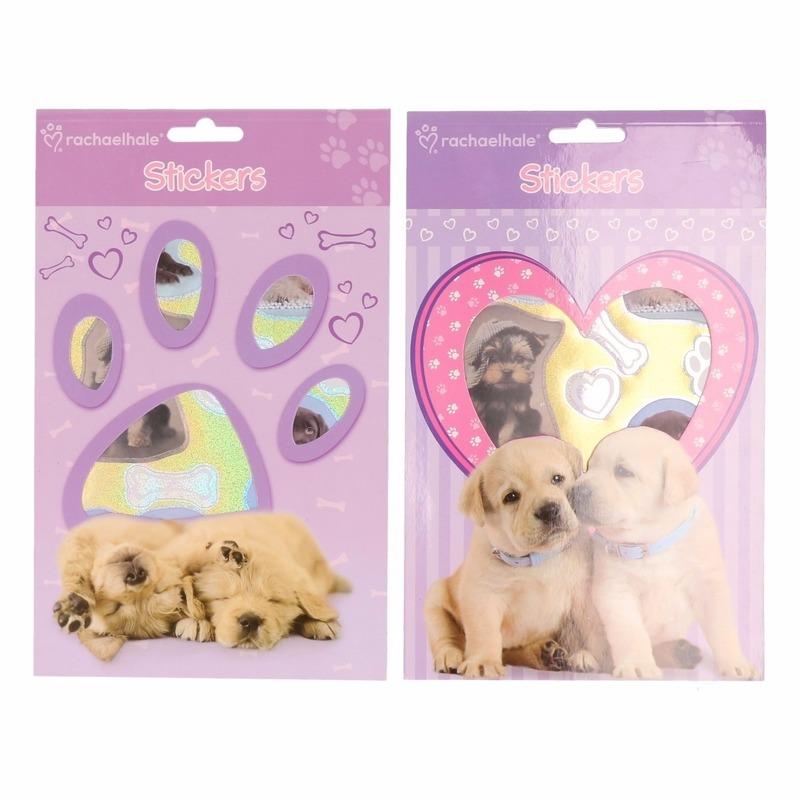 Paars stickerboekje met puppies