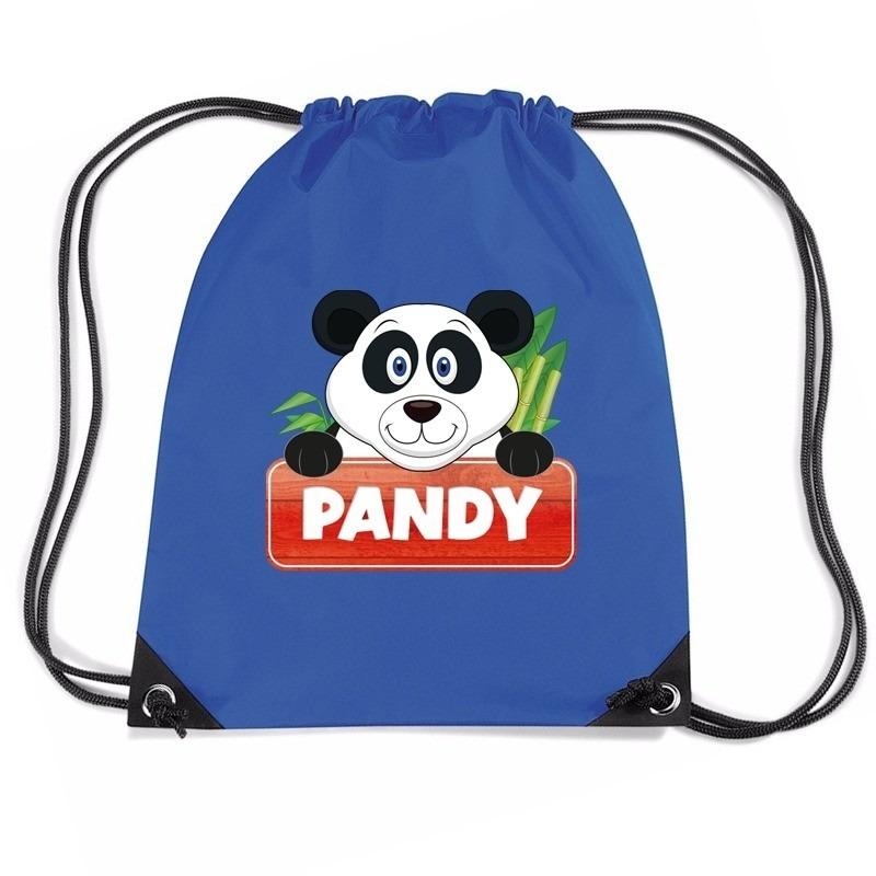 Pandy de Panda trekkoord rugzak - gymtas blauw voor kinderen