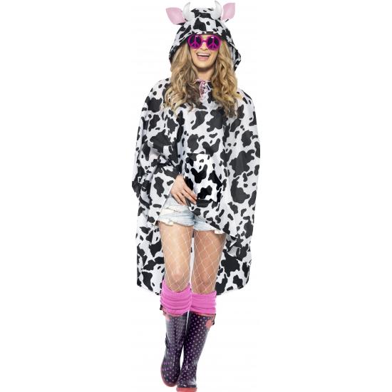 Party poncho met koeienvlekken