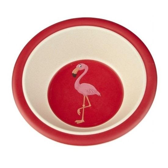 Peuter/baby servies kommetje bamboe met flamingo 16 cm