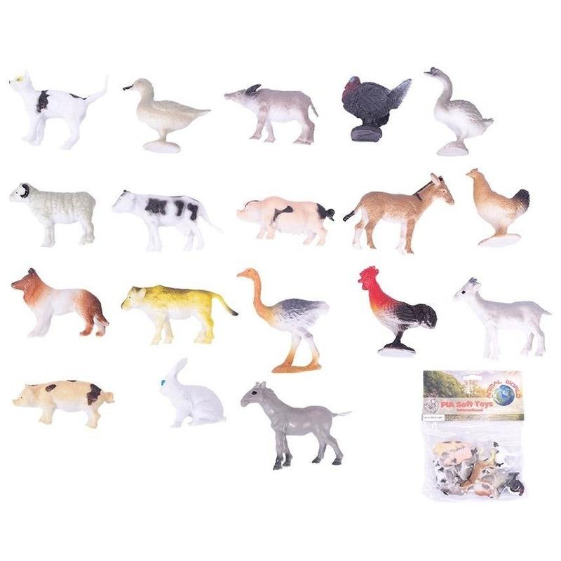 Plastic boerderij diertjes speelfiguren setje van 24 stuks