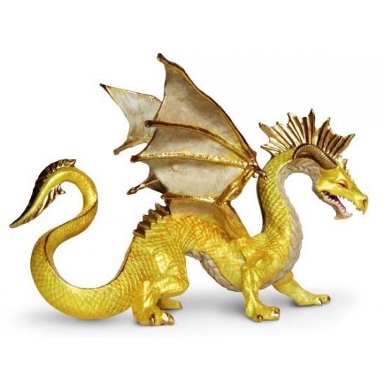 Plastic gouden draken 17 cm