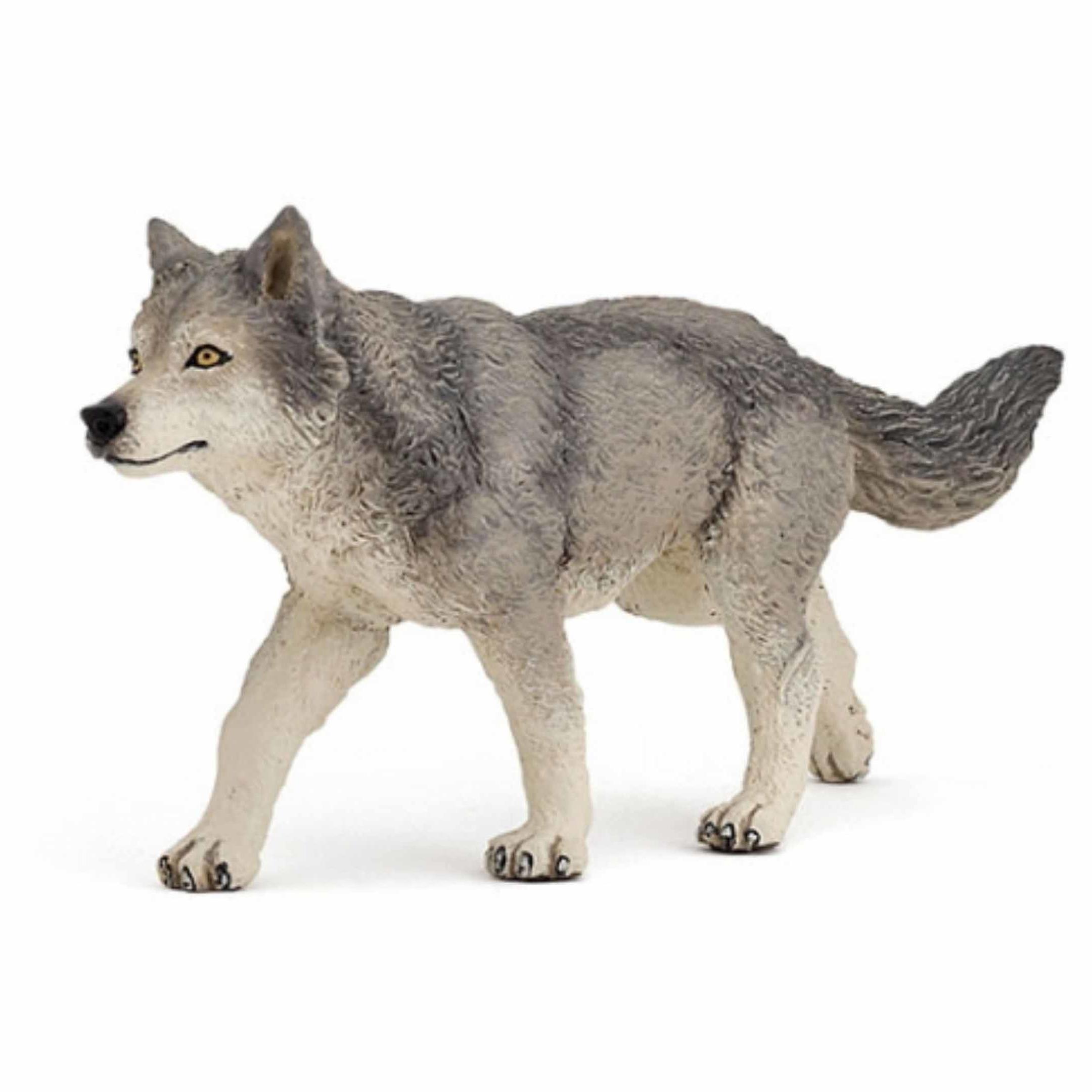 Plastic grijze wolf speeldiertje 12 cm