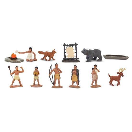 Plastic indianen en dieren speelgoed figuren in koker