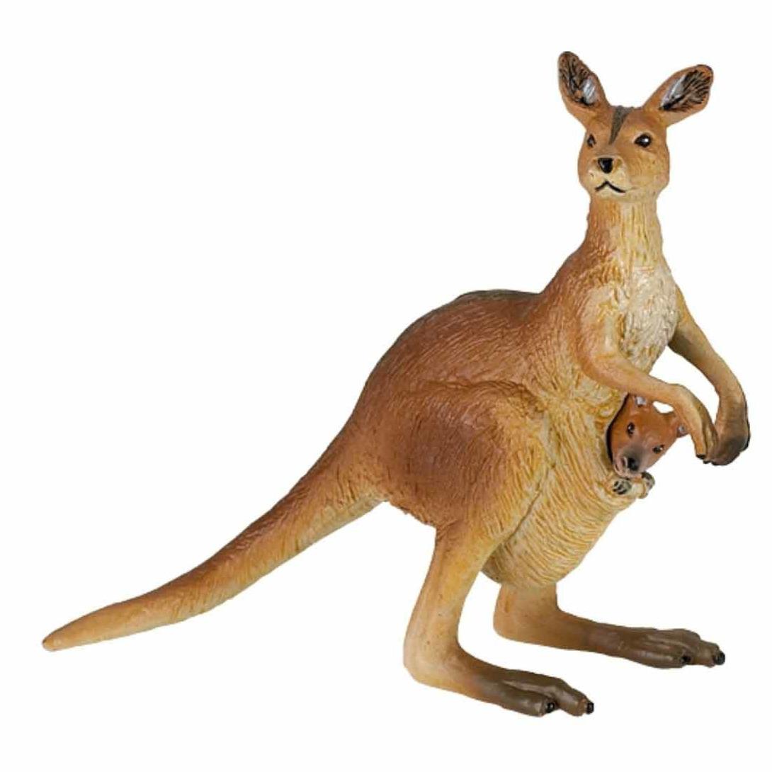 Plastic kangoeroe met baby speeldiertje 8 cm