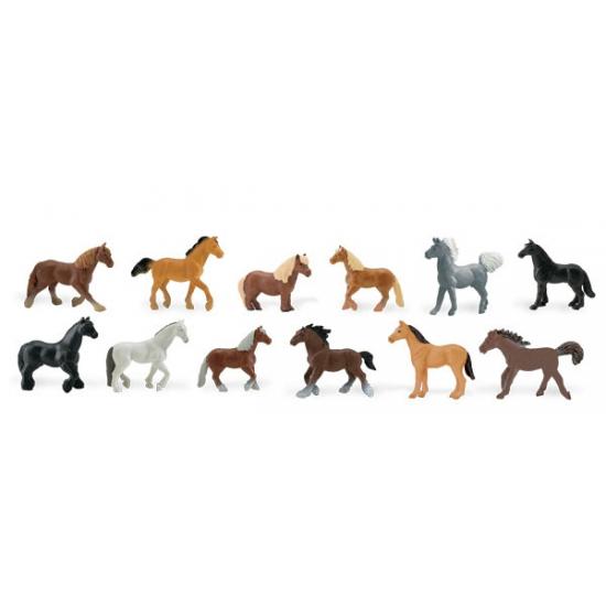 Plastic paarden dieren 12 stuks