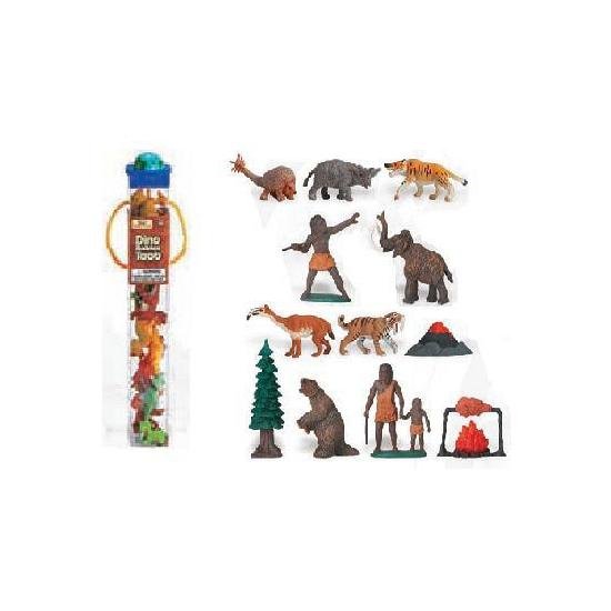 Plastic prehistorische figuurtjes in koker