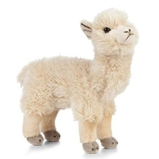 Pluche alpaca/lama knuffeldier wit 24 cm