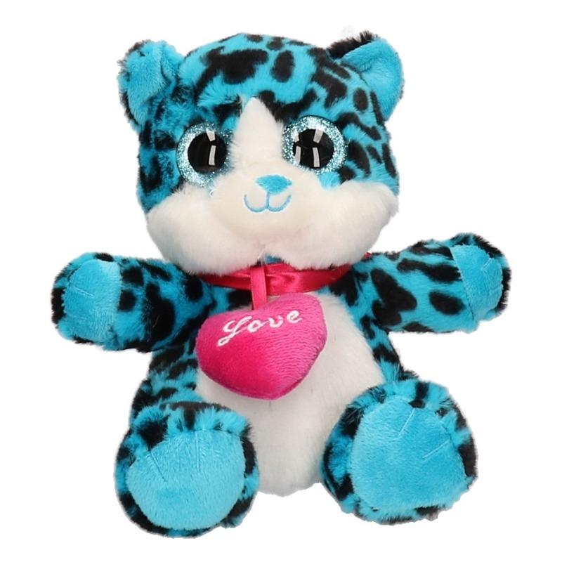 Pluche blauw kat/poes knuffeldier 22 cm
