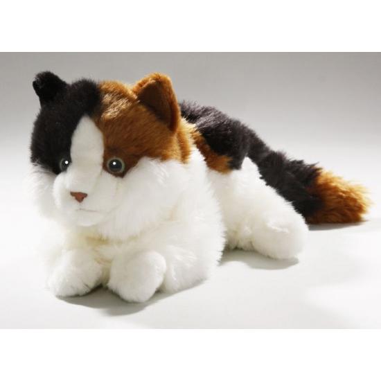 Pluche bont gekleurde kat/poes 26 cm