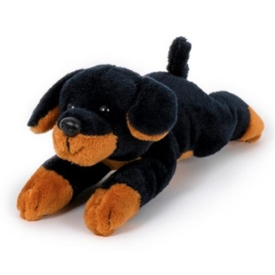 Pluche bruin met zwarte rottweiler knuffels 13 cm knuffeldieren