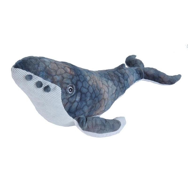 Pluche bultrug walvis grijsblauw 38 cm
