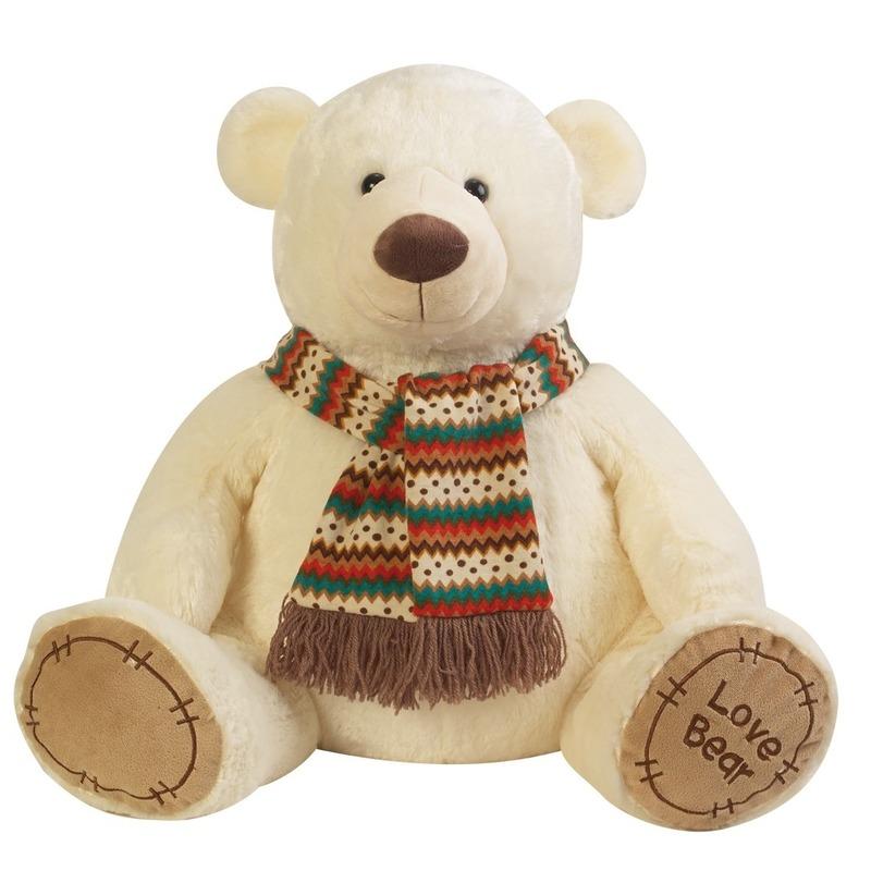 Pluche creme knuffelbeer met sjaal 65 cm