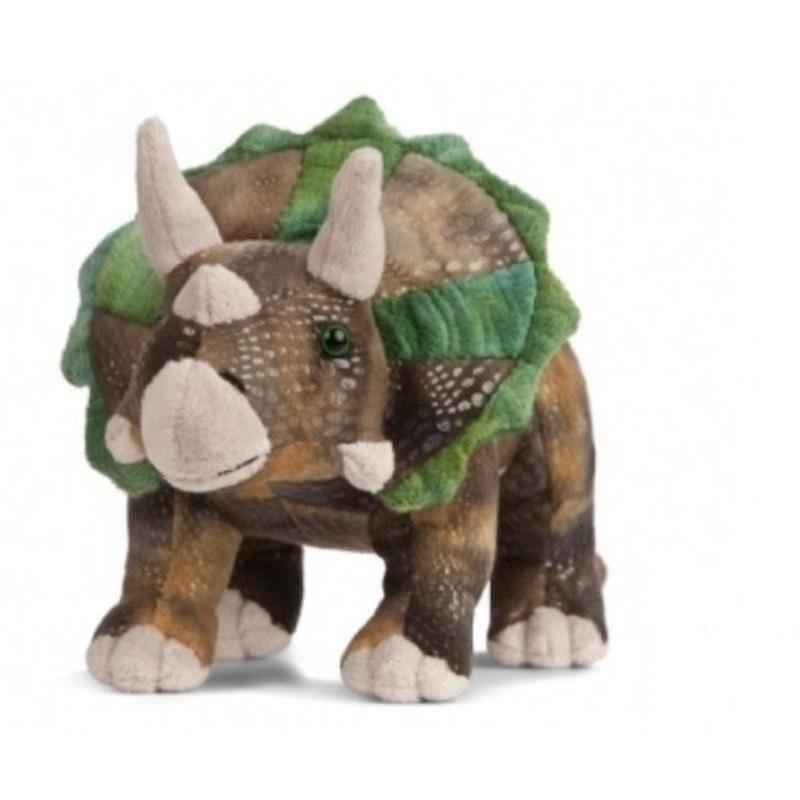 Pluche dino Triceratops knuffel groen/bruin 24 cm knuffeldieren
