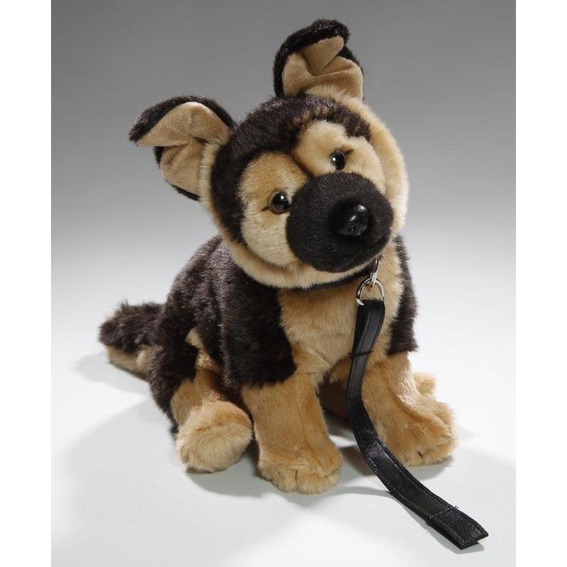 Pluche Duitse Herder honden knuffel aan lijn 25 cm