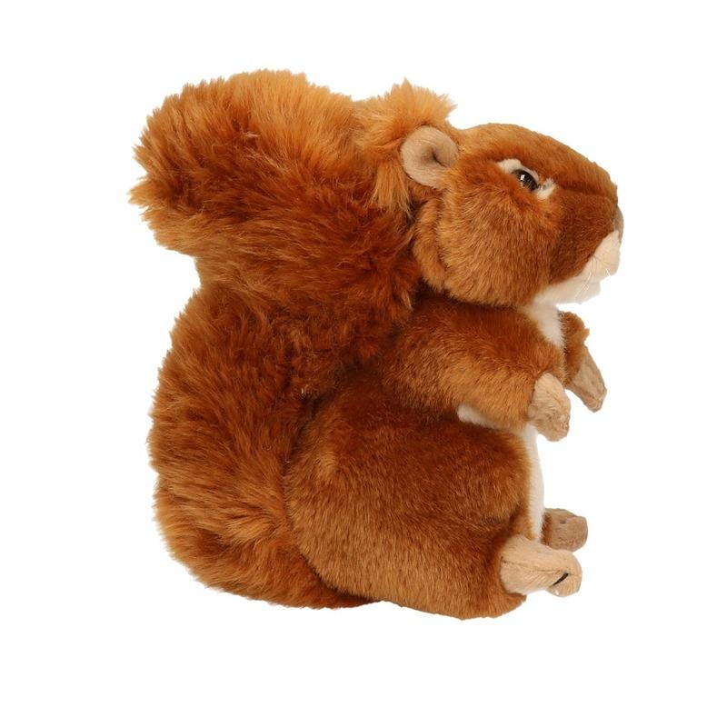 Pluche eekhoorn knuffeldier zittend/liggend 17cm