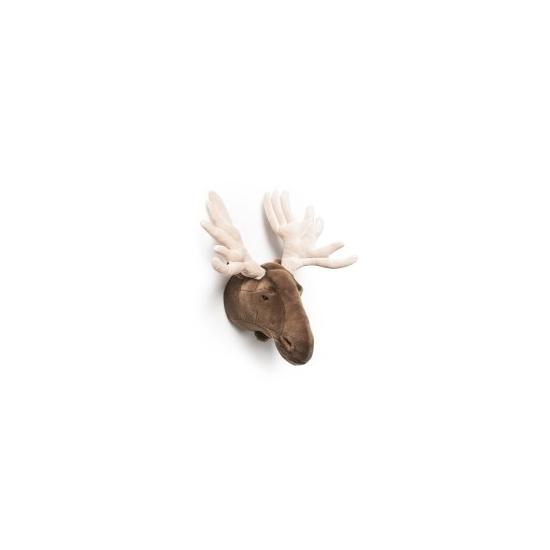 Pluche elanden kop voor aan de muur