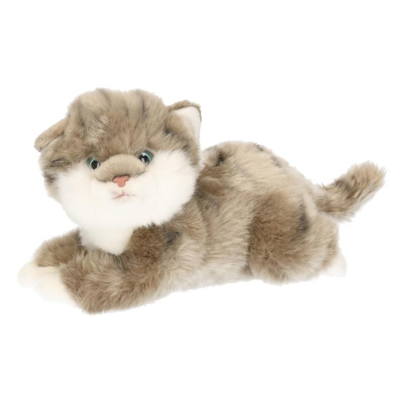 Pluche gestreepte poezen/katten/kittens knuffels grijs 27 cm
