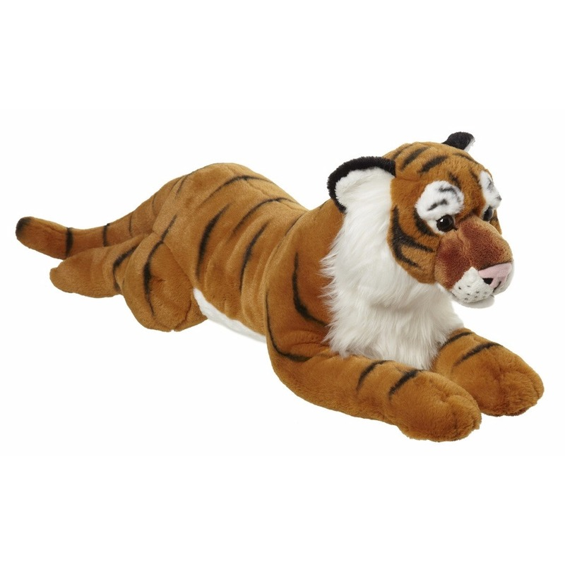 Pluche grote tijger knuffel liggend 70cm
