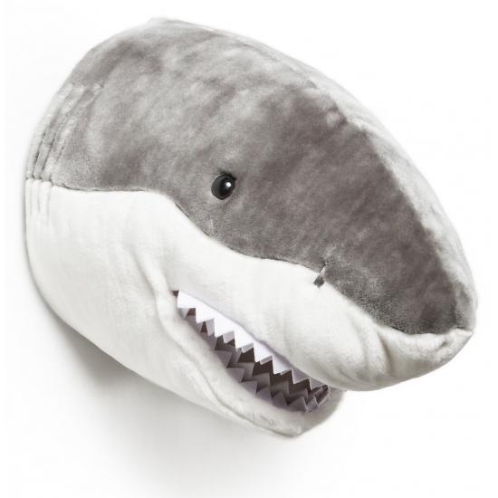 Pluche haaienkop voor aan de muur