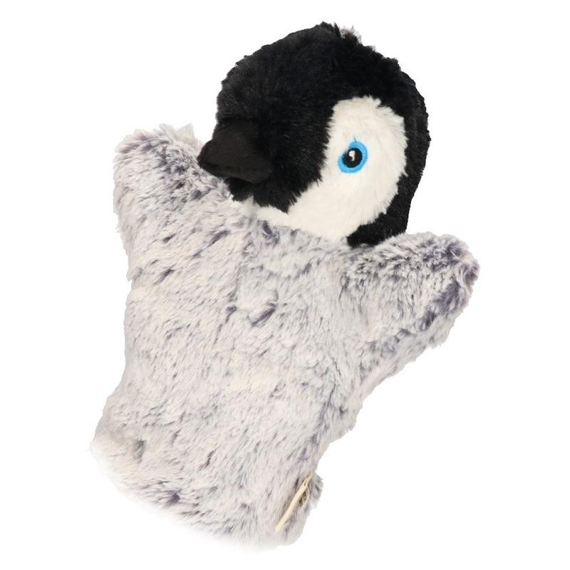 Pluche handpoppen pinguin 22 cm