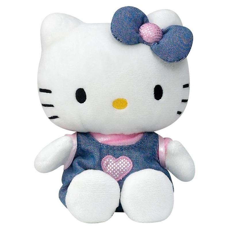 Pluche Hello Kitty met blauw jurkje 15 cm