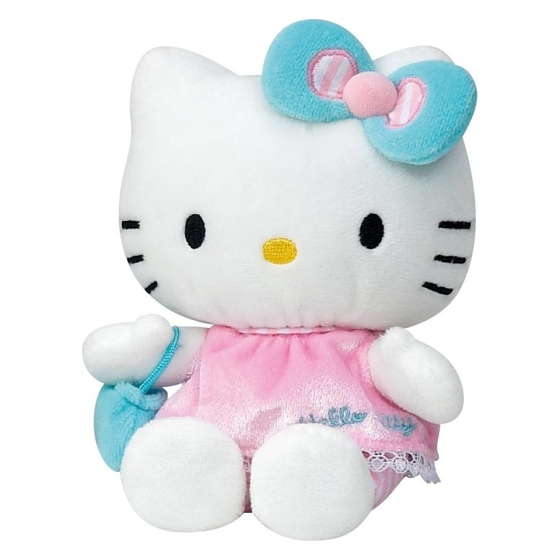 Pluche Hello Kitty met roze jurkje 15 cm