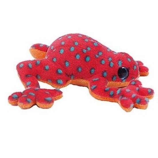 Pluche kikker knuffeltje rood met blauw 15 cm