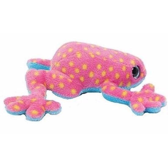 Pluche kikker knuffeltje roze met geel 15 cm