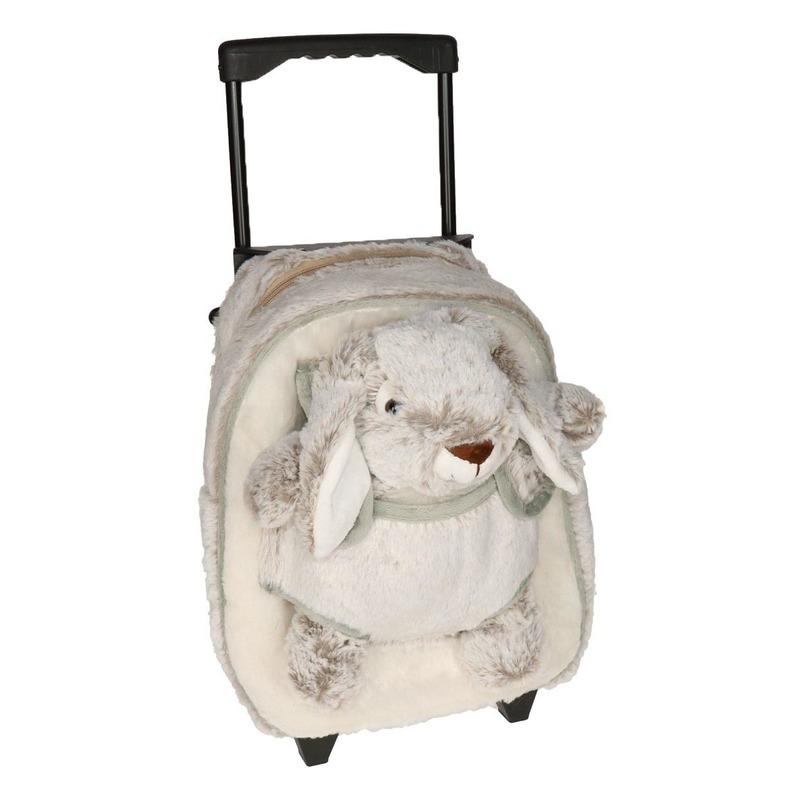 Pluche kinder trolley koffer met haas 35 x 25 x 13 cm
