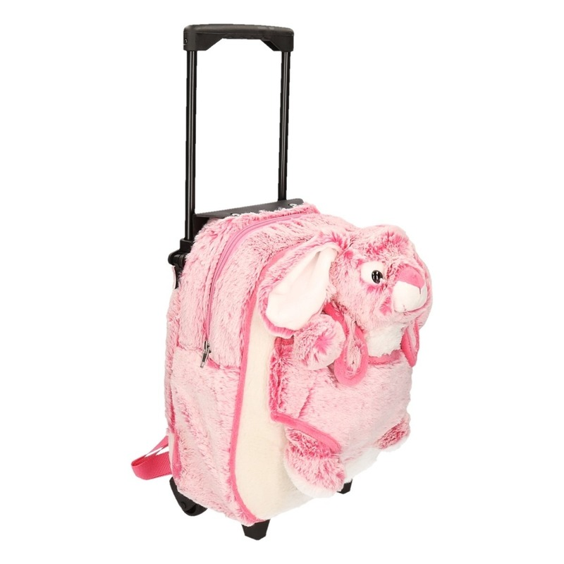 Pluche kinder trolley koffer met roze konijn/haas 35 x 25 x 13 cm