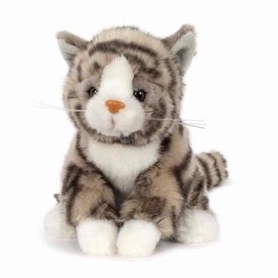 Pluche knuffel katje/poesje grijs 16 cm